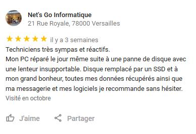 Certains commerçant peu scrupuleux n'hésitent pas à rédiger de faux avis clients et s'attribuer une note 5* comme Net's Go Informatique à Versailles