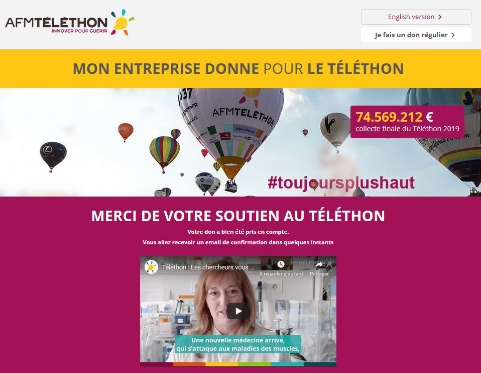Paiement du don à l'association AFMTelethon